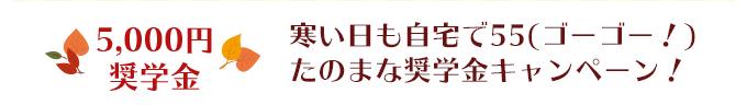 5,000円奨学金 寒い日も自宅で55(ゴーゴー!)たのまな奨学金キャンペーン!