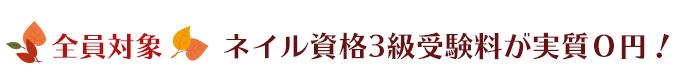全員対象 ネイル資格3級受験料が実質0円