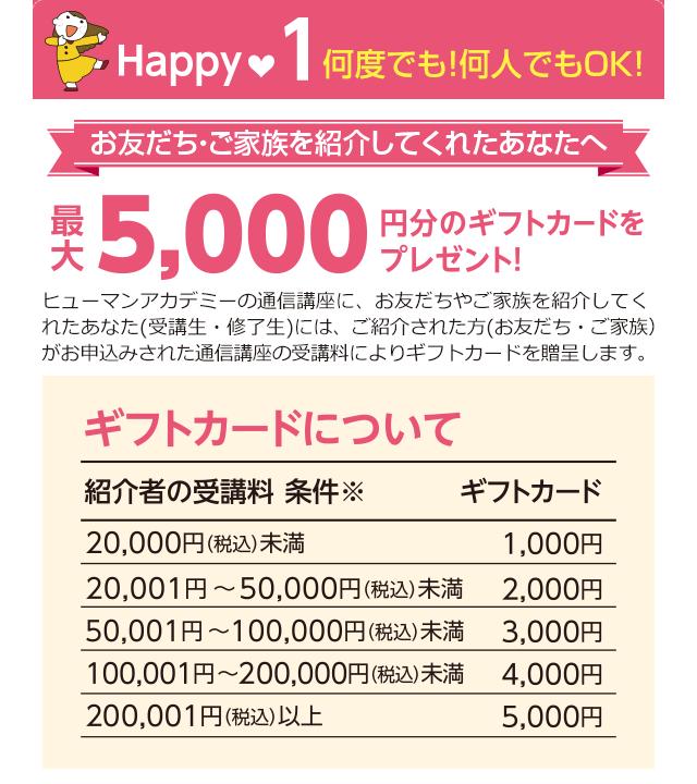 お友だち・ご家族を紹介してくれたあなたへ最大5,000円のギフトカードをプレゼント!
